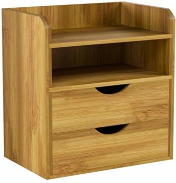 Relaxdays Schreibtisch-Organizer HBT: 21x20x13cm Ablagesystem aus Bambus für den Schreibtisch Organizer mit 2 Ablagen und 2 herausnehmbaren Schubladen Aufbewahrungsbox als Briefablage fürs Büro, natur - 6