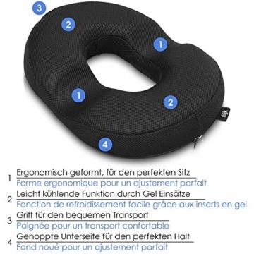riijk Gel Sitzkissen, Ringkissen mit kühlender Gelschicht: wohltuender Sitzring, Sitzerhöhung aus Spezialschaum - 2