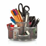 Schreibtisch Ordnungssystem drehbar in grau silber - hochwertiger und großer Stifteköcher aus Metall - edler Schreibtischorganizer, Stiftehalter, Büro Organizer in modernem Rund Design - 1
