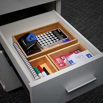 5-teiliger Bambus-Schubladen-Organizer | Set von 5 dauerhaften Holz Aufbewahrungsboxen | Verschiedene Größen | Vielseitig und konfigurierbar |M&W - 3
