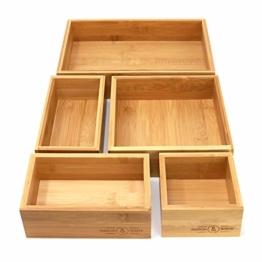 5-teiliger Bambus-Schubladen-Organizer | Set von 5 dauerhaften Holz Aufbewahrungsboxen | Verschiedene Größen | Vielseitig und konfigurierbar |M&W - 1