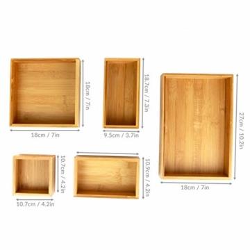 5-teiliger Bambus-Schubladen-Organizer | Set von 5 dauerhaften Holz Aufbewahrungsboxen | Verschiedene Größen | Vielseitig und konfigurierbar |M&W - 4