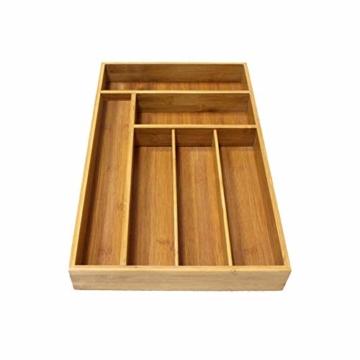 Corwar Bambus Schublade Organizer Holz Utensil Besteck Küche Schublade Box Halter realistic - 4