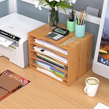 Homfa Bambus Dokumentenablage Schreibtisch Organizer für Büro a4 Holz 36x25x26cm - 2