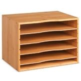 Homfa Bambus Dokumentenablage Schreibtisch Organizer für Büro a4 Holz 36x25x26cm - 1