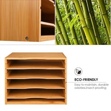 Homfa Bambus Dokumentenablage Schreibtisch Organizer für Büro a4 Holz 36x25x26cm - 3