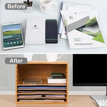 Homfa Bambus Dokumentenablage Schreibtisch Organizer für Büro a4 Holz 36x25x26cm - 4