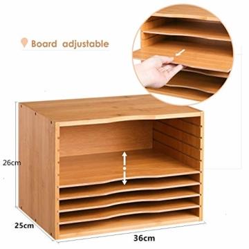 Homfa Bambus Dokumentenablage Schreibtisch Organizer für Büro a4 Holz 36x25x26cm - 5