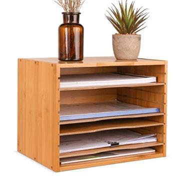 Homfa Bambus Dokumentenablage Schreibtisch Organizer für Büro a4 Holz 36x25x26cm - 6