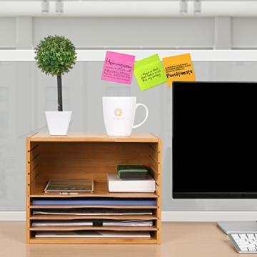Homfa Bambus Dokumentenablage Schreibtisch Organizer für Büro a4 Holz 36x25x26cm - 7