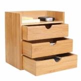 Homfa Bambus Schreibtisch Organizer 20x13x21cm Aufbewahrungsbox Organisation Stiftebox Stifteköcher Stiftehalter Schreibtischorganizer - 1