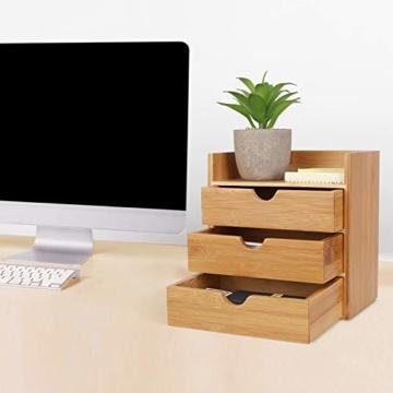 Homfa Bambus Schreibtisch Organizer 20x13x21cm Aufbewahrungsbox Organisation Stiftebox Stifteköcher Stiftehalter Schreibtischorganizer - 4