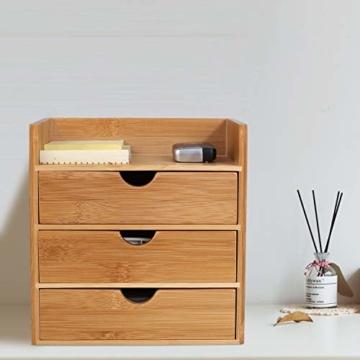 Homfa Bambus Schreibtisch Organizer 20x13x21cm Aufbewahrungsbox Organisation Stiftebox Stifteköcher Stiftehalter Schreibtischorganizer - 5