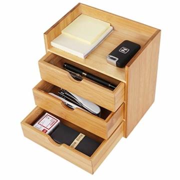 Homfa Bambus Schreibtisch Organizer 20x13x21cm Aufbewahrungsbox Organisation Stiftebox Stifteköcher Stiftehalter Schreibtischorganizer - 6