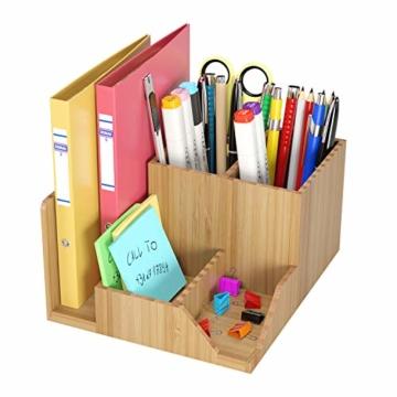 Homfa Bambus Schreibtisch Organizer 21,5x18,5x11,5cm Stiftehalter Stifteköcher Aufbewahrungsbox Schreibtisch Zubehör Organisation Ordnungsbox - 2