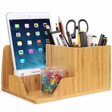 Homfa Bambus Schreibtisch Organizer 21,5x18,5x11,5cm Stiftehalter Stifteköcher Aufbewahrungsbox Schreibtisch Zubehör Organisation Ordnungsbox - 3