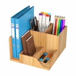 Homfa Bambus Schreibtisch Organizer 21,5x18,5x11,5cm Stiftehalter Stifteköcher Aufbewahrungsbox Schreibtisch Zubehör Organisation Ordnungsbox - 1