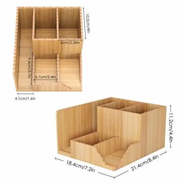 Homfa Bambus Schreibtisch Organizer 21,5x18,5x11,5cm Stiftehalter Stifteköcher Aufbewahrungsbox Schreibtisch Zubehör Organisation Ordnungsbox - 4