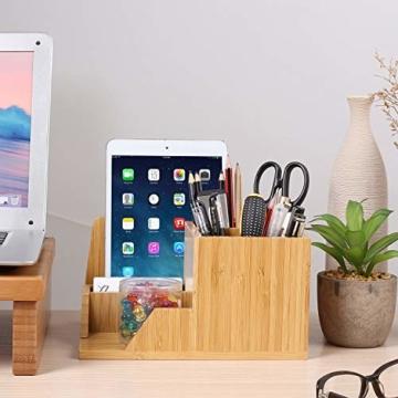 Homfa Bambus Schreibtisch Organizer 21,5x18,5x11,5cm Stiftehalter Stifteköcher Aufbewahrungsbox Schreibtisch Zubehör Organisation Ordnungsbox - 7