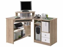 möbelando Eck-Schreibtisch Bürotisch Computertisch Winkelschreibtisch Büromöbel Marcel I Sonoma-Eiche/Weiß - 1