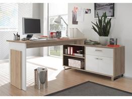 möbelando Winkelschreibtisch Schreibtisch Büroschreibtisch Eckschreibtisch Margate I Sonoma-Eiche/Weiß - 1