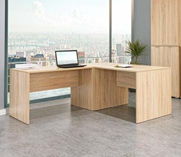 mutatio Gaming Tisch - Erweiterbar - genügend Platz für Zwei Arbeitsplätze - Ecke - Winkelkombination - Eckschreibtisch, Schreibtisch - Sonoma-Eiche ca.: B 185/185 x H 75,5 x T 75 cm - 1