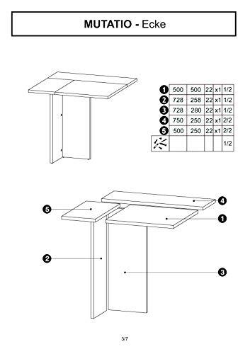 mutatio Gaming Tisch - Erweiterbar - genügend Platz für Zwei Arbeitsplätze - Ecke - Winkelkombination - Eckschreibtisch, Schreibtisch - Sonoma-Eiche ca.: B 185/185 x H 75,5 x T 75 cm - 7