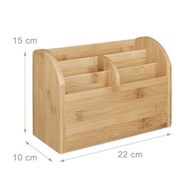 Relaxdays Schreibtisch-Organizer Bambus, Stifteablage, Briefablage, 5 Fächer, Maserung, HBT 15 x 23 x 10 cm, natur - 2