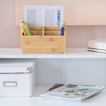 Relaxdays Schreibtisch-Organizer Bambus, Stifteablage, Briefablage, 5 Fächer, Maserung, HBT 15 x 23 x 10 cm, natur - 3