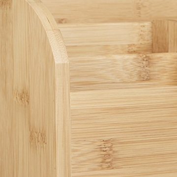 Relaxdays Schreibtisch-Organizer Bambus, Stifteablage, Briefablage, 5 Fächer, Maserung, HBT 15 x 23 x 10 cm, natur - 4