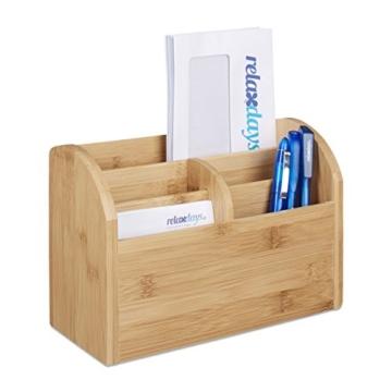 Relaxdays Schreibtisch-Organizer Bambus, Stifteablage, Briefablage, 5 Fächer, Maserung, HBT 15 x 23 x 10 cm, natur - 1