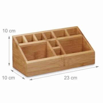 Relaxdays Schreibtischorganizer Bambus, Stifteköcher, 10 Fächer, natürliche Maserung, HxBxT: 10 x 23 x 10 cm, natur - 4