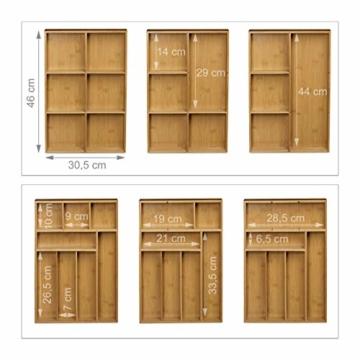 Relaxdays Schubladeneinsatz aus Bambus 2er Set H x B x T: ca. 6,5 x 30,5 x 46 cm Küchenorganizer mit herausnehmbaren Trennwänden Schubladenkasten als Besteckkasten nutzbar Schubladenorganizer, natur - 2
