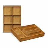 Relaxdays Schubladeneinsatz aus Bambus 2er Set H x B x T: ca. 6,5 x 30,5 x 46 cm Küchenorganizer mit herausnehmbaren Trennwänden Schubladenkasten als Besteckkasten nutzbar Schubladenorganizer, natur - 1