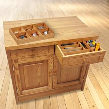 Relaxdays Schubladeneinsatz aus Bambus 2er Set H x B x T: ca. 6,5 x 30,5 x 46 cm Küchenorganizer mit herausnehmbaren Trennwänden Schubladenkasten als Besteckkasten nutzbar Schubladenorganizer, natur - 3