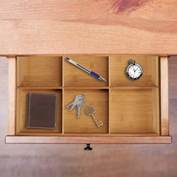 Relaxdays Schubladeneinsatz aus Bambus 2er Set H x B x T: ca. 6,5 x 30,5 x 46 cm Küchenorganizer mit herausnehmbaren Trennwänden Schubladenkasten als Besteckkasten nutzbar Schubladenorganizer, natur - 4