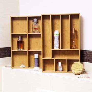 Relaxdays Schubladeneinsatz aus Bambus 2er Set H x B x T: ca. 6,5 x 30,5 x 46 cm Küchenorganizer mit herausnehmbaren Trennwänden Schubladenkasten als Besteckkasten nutzbar Schubladenorganizer, natur - 5