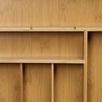 Relaxdays Schubladeneinsatz aus Bambus 2er Set H x B x T: ca. 6,5 x 30,5 x 46 cm Küchenorganizer mit herausnehmbaren Trennwänden Schubladenkasten als Besteckkasten nutzbar Schubladenorganizer, natur - 6