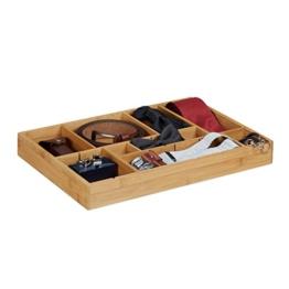 Relaxdays Schubladeneinsatz Bambus H x B x T: ca. 5 x 45 x 32 cm Küchenorganizer, Trennwände Besteckkasten, natur - 1