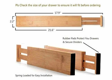 Wooden-Life Schubladen Organizer, Schubladentrenner, Schubladenteiler, Die 4er-Set Bambus Schubladentrenner geeignet für Küche, Kommode, Schlafzimmer, Baby Schublade, Bad, Schreibtisch - 2