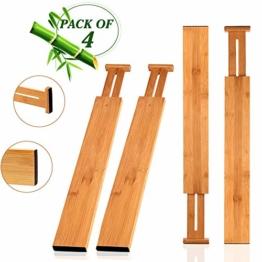 Wooden-Life Schubladen Organizer, Schubladentrenner, Schubladenteiler, Die 4er-Set Bambus Schubladentrenner geeignet für Küche, Kommode, Schlafzimmer, Baby Schublade, Bad, Schreibtisch - 1