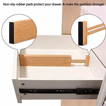 Wooden-Life Schubladen Organizer, Schubladentrenner, Schubladenteiler, Die 4er-Set Bambus Schubladentrenner geeignet für Küche, Kommode, Schlafzimmer, Baby Schublade, Bad, Schreibtisch - 4