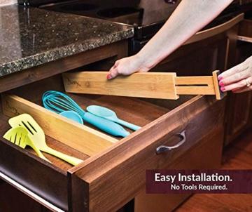 Wooden-Life Schubladen Organizer, Schubladentrenner, Schubladenteiler, Die 4er-Set Bambus Schubladentrenner geeignet für Küche, Kommode, Schlafzimmer, Baby Schublade, Bad, Schreibtisch - 5