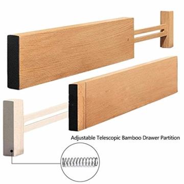 Wooden-Life Schubladen Organizer, Schubladentrenner, Schubladenteiler, Die 4er-Set Bambus Schubladentrenner geeignet für Küche, Kommode, Schlafzimmer, Baby Schublade, Bad, Schreibtisch - 6
