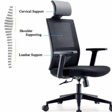 Bürostuhl Drehstuhl Computerstuhl hat Verstellbare PU Kopfstützen und Armlehnen, Ergonomischer Schreibtischstuhl mit Höhenverstellbar und Wippenfunktion, rückenschonend, Schwarz - 3