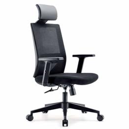 Bürostuhl Drehstuhl Computerstuhl hat Verstellbare PU Kopfstützen und Armlehnen, Ergonomischer Schreibtischstuhl mit Höhenverstellbar und Wippenfunktion, rückenschonend, Schwarz - 1