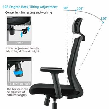 Bürostuhl Drehstuhl Computerstuhl hat Verstellbare PU Kopfstützen und Armlehnen, Ergonomischer Schreibtischstuhl mit Höhenverstellbar und Wippenfunktion, rückenschonend, Schwarz - 4