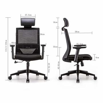 Bürostuhl Drehstuhl Computerstuhl hat Verstellbare PU Kopfstützen und Armlehnen, Ergonomischer Schreibtischstuhl mit Höhenverstellbar und Wippenfunktion, rückenschonend, Schwarz - 5