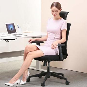 Bürostuhl Drehstuhl Computerstuhl hat Verstellbare PU Kopfstützen und Armlehnen, Ergonomischer Schreibtischstuhl mit Höhenverstellbar und Wippenfunktion, rückenschonend, Schwarz - 6