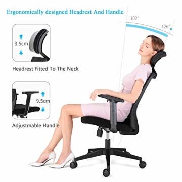 Bürostuhl Drehstuhl Computerstuhl hat Verstellbare PU Kopfstützen und Armlehnen, Ergonomischer Schreibtischstuhl mit Höhenverstellbar und Wippenfunktion, rückenschonend, Schwarz - 7